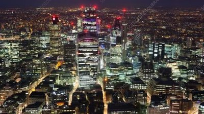 City of London at night, timelapse
