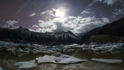 Glacial lake at night in Tibet, time-lapse footage