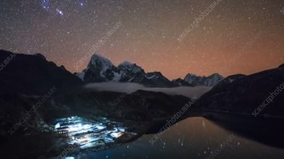 Lake and mountains at night in Nepal, time-lapse footage