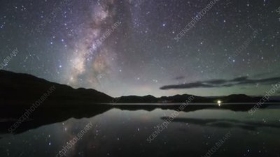Lake and Milky Way at night in Tibet, time-lapse footage
