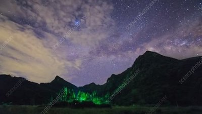 Mount Jinfo in China and Milky Way, time-lapse footage