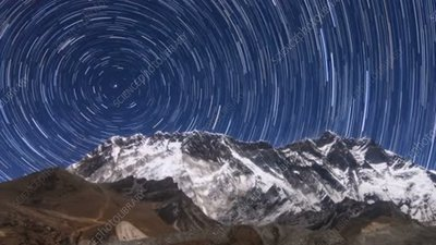 Star trails over mountains in Nepal, time-lapse footage