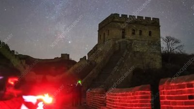 Great Wall of China at night, time-lapse footage