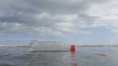 Plastic bottle floating on the sea
