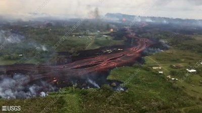 Kilauea eruption lava flows in May 2018, aerial footage