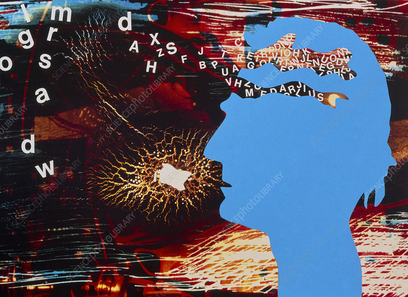 Abstract collage depicting Alzheimer's disease