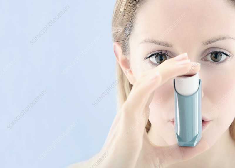 Asthma inhaler use - Stock Image M109/0351 - Science Photo