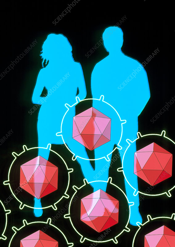 Artwork of a man and woman with AIDS viruses