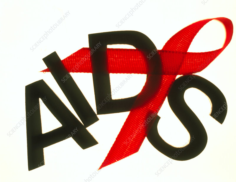 Artwork of a red ribbon for AIDS awareness