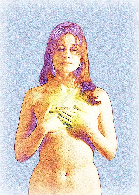 Image depicting a woman with breast cancer