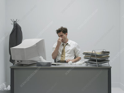 Office worker with a cold