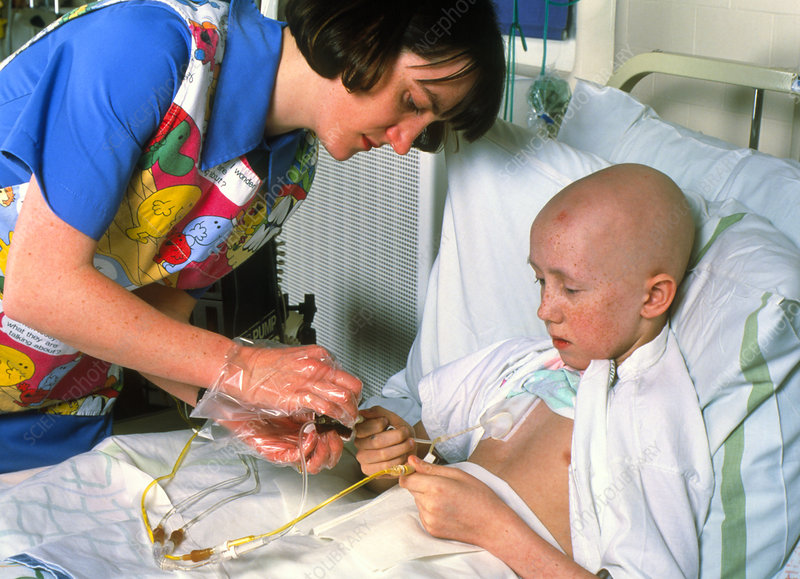 Young boy undergoing chemotherapy for leukaemia