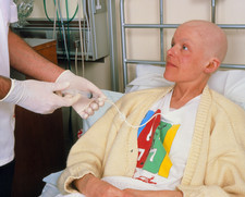 Blood sampling from chest in female cancer patient