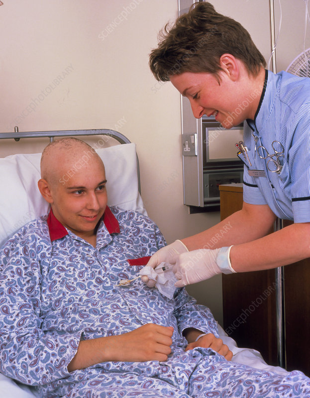 Use of a chest catheter in male cancer patient
