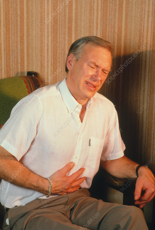 Man with indigestion (dyspepsia) or heartburn