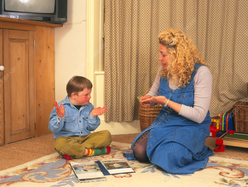 7-year-old boy with Down's syndrome: sign language