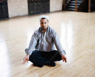 Man with Down's syndrome meditating