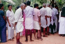 Patients queuing at filariasis clinic in India