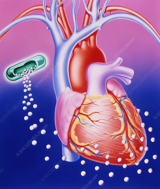 Illustration of a drug dissolving around the heart