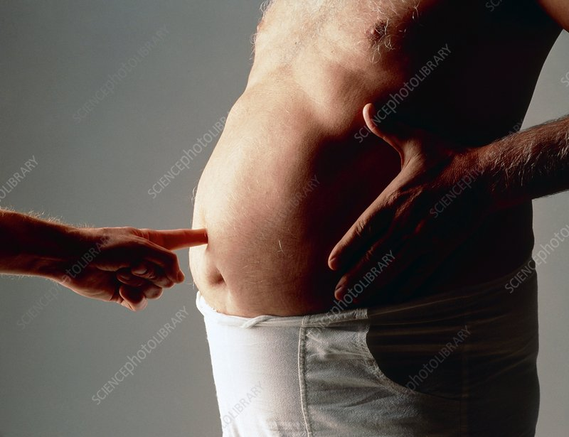 Finger poking obese man in the stomach