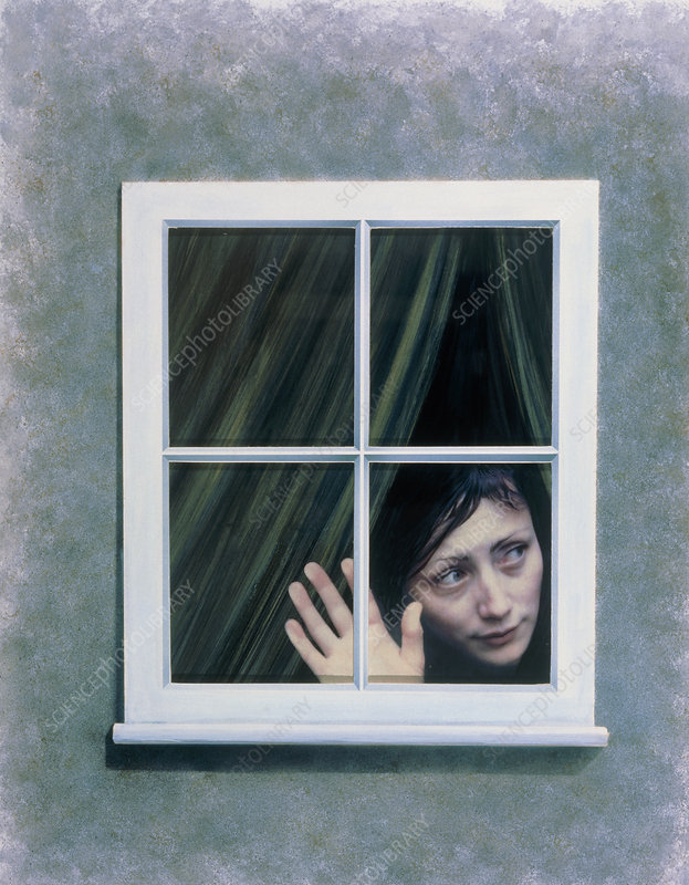 Artist's depiction of an agoraphobic woman