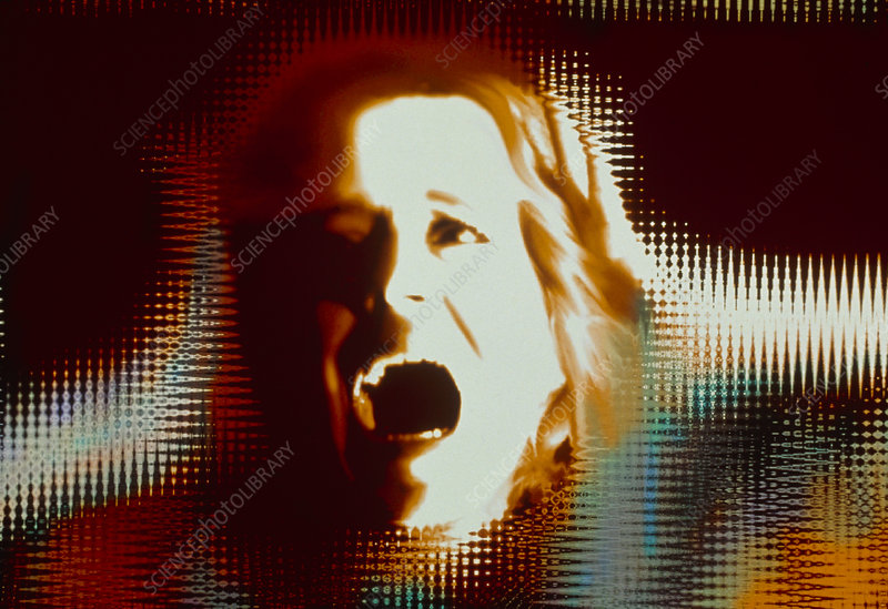 Computer image of woman's face showing alarm/fear