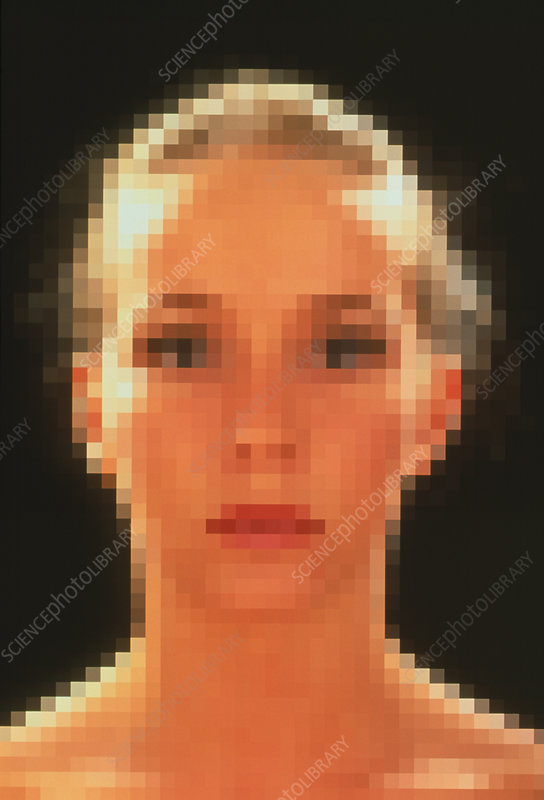 Computer graphic of pixelated face of a woman
