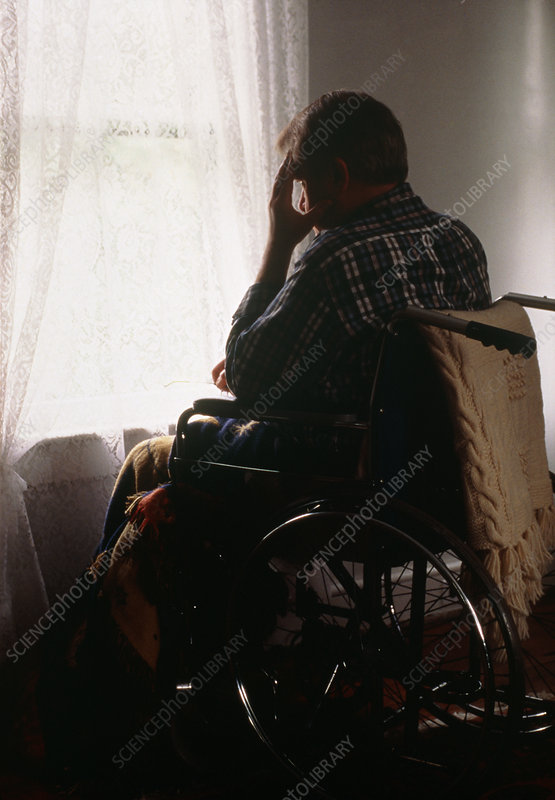 Depression & disability: man in wheelchair