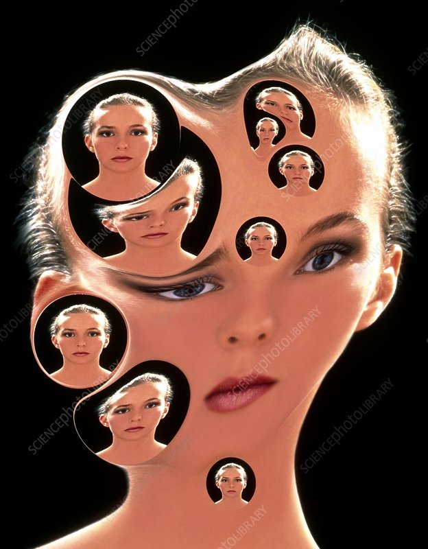 Abstract of woman: multiple personality disorder