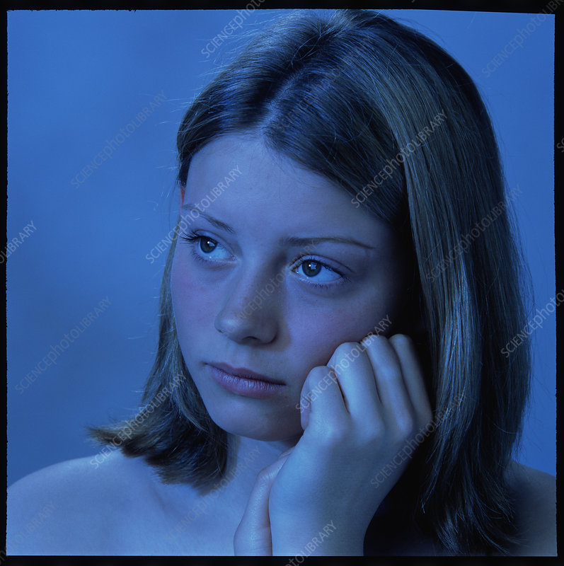 Teenage girl depressed (blue light)
