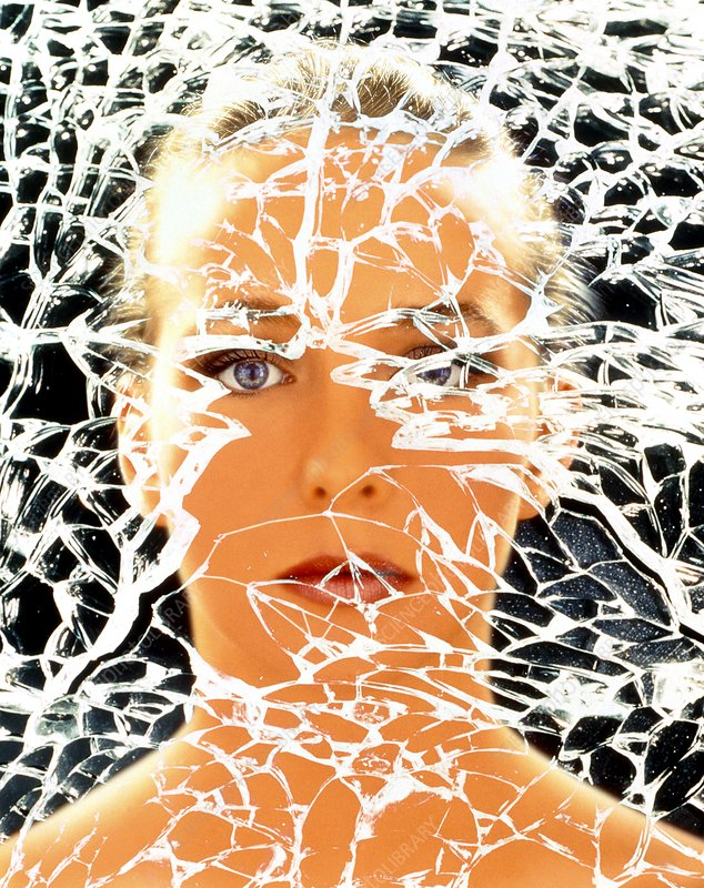 Abstract image of woman with shattered personality