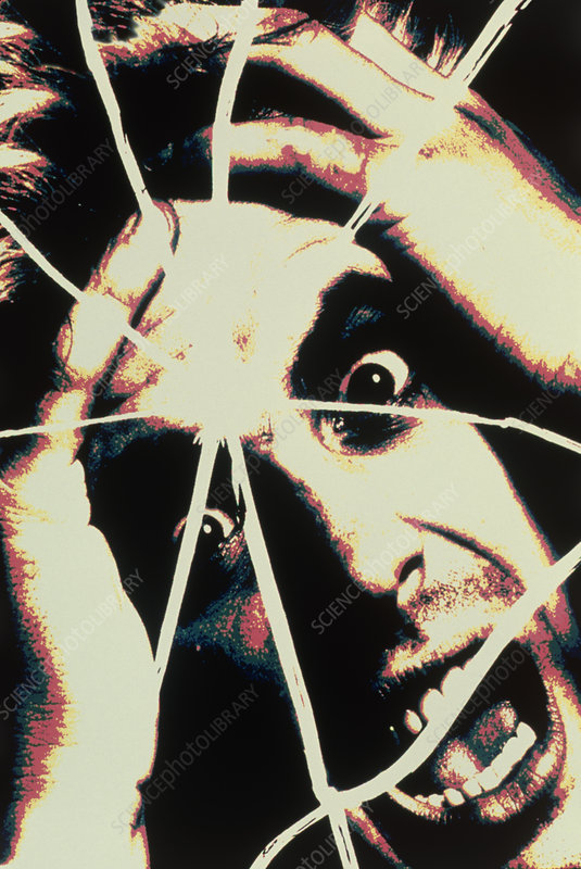 Abstract image of man with shattered personality