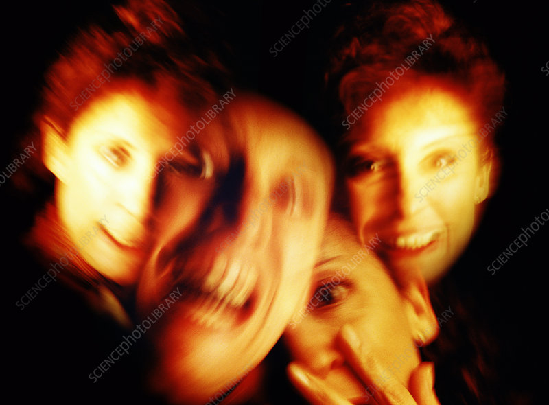 Abstract image of a woman with split personality