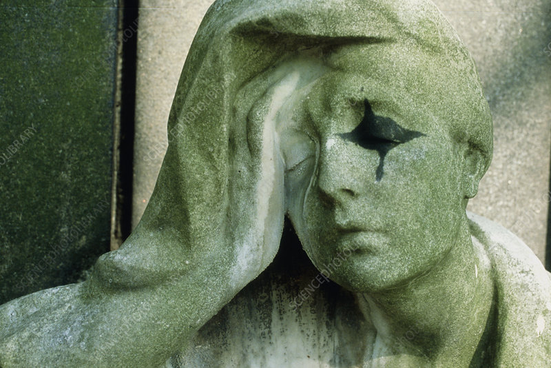 Statue of a person crying representing sadness
