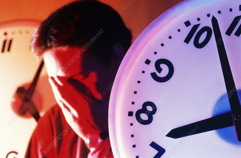 Abstract image of a stressed man with clocks