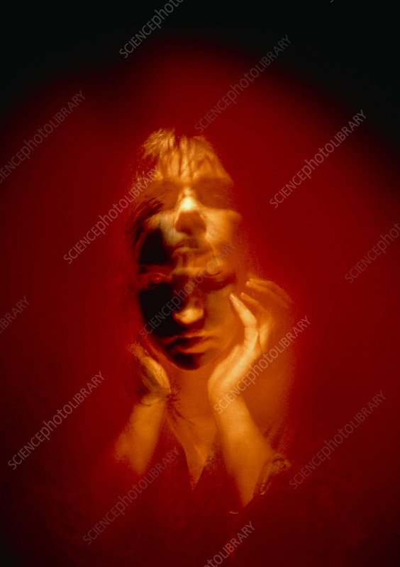 Abstract image of a woman with a split personality