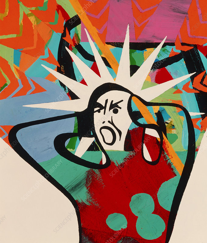 Abstract artwork of a angry man holding his head