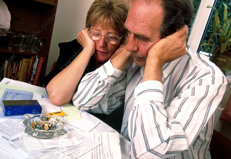 Husband and wife depressed over financial worries