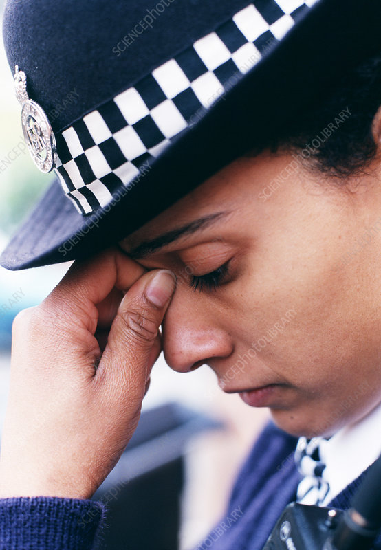 Stressed policewoman