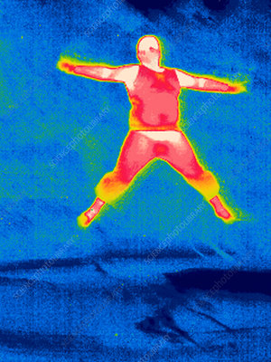 Man jumping, thermogram