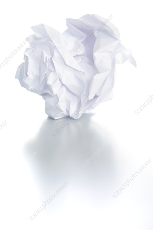 Conceptual image of a screwed up piece of paper. This could represent stress