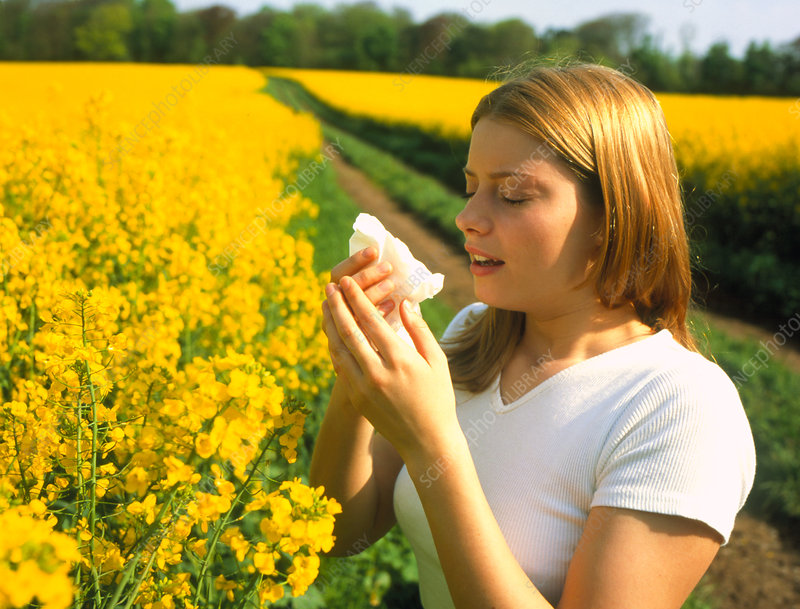 Young woman suffering from hay fever in a field