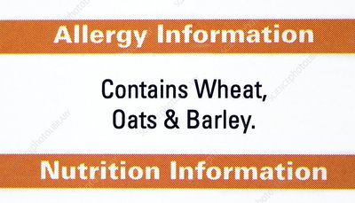 Food allergy advice label