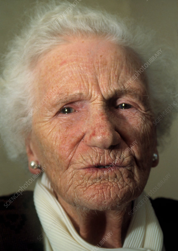 Close-up of the face of an elderly woman