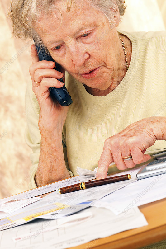 Elderly woman phoning