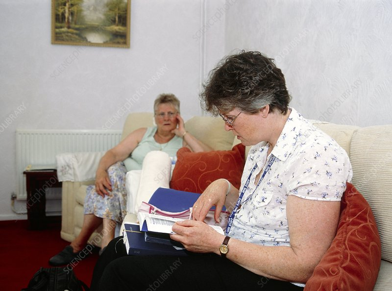 Community matron during a home visit