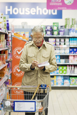 Elderly man shopping