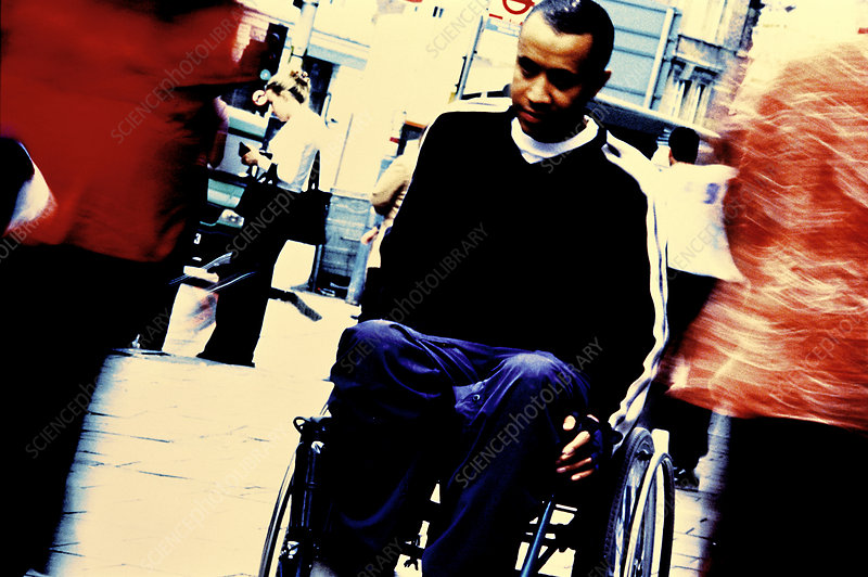 Disabled man in city