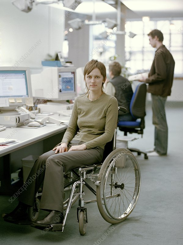 Disabled woman at work