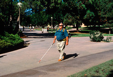 Blind person with GPS navigation system